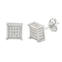 Sterling Silver Micro Pave Stud Earrings Clear Square 3d Sidestones 8mm x 8mm