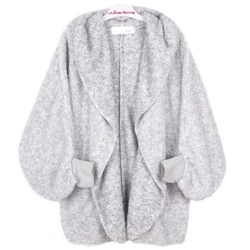 Fashion Fleece Cardigan Women Two-Tone Poncho Capes Open Front Poncho Shrug Cardigan With Hood
