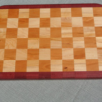 Maple and Cherry Checkerboard Cutting Board with Purpleheart Accent Stripes