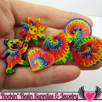 Jesse James Buttons 6 pc TIE DYED fuN OR Turn them Into Flatback Decoden Cabochons