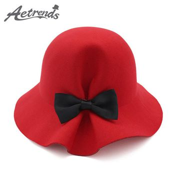 New Bow Tie Lady Fedoras Wool Felt Hats for Women Fedora Cap Girl Panama Hat
