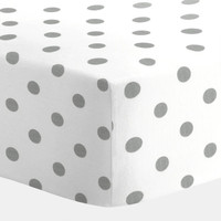 Boy Baby Bedding / Girl Baby Bedding / Neutral Baby Bedding : White and Gray Polka Dot Crib Sheet Carousel Designs