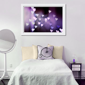 hearts photography abstract 8x10 8x12 bokeh photography fine art romantic photography valentines purple lilac wall art nursery bedroom decor