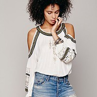 Free People Womens Embellished Banded Open Shoulder Top