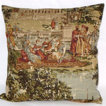 "Pictorial Toile Pillow Covington Abu Dusk Dusty Aqua Brown Green Rust Palace and People Vintage Look 18"" Square Linen Blend  Ready Ship"