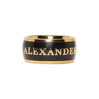 Black & Gold Alexander McQueen Enamel Ring