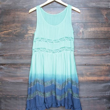 dip dye boho lace trim trapeze slip dress in mint and navy