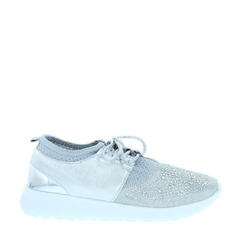 Gem Stone Lace Up Sneaker (Silver)