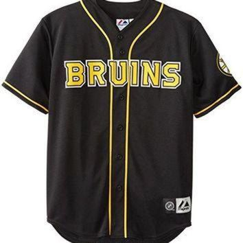 DCCK8X2 NHL Boston Bruins Short Sleeve Button Front Baseball Style Jersey Big and Tall