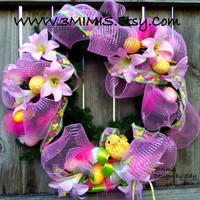 Easter Wreath Front Door Pink Deco Mesh Wreath