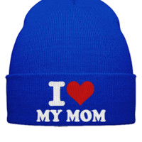 I LOVE MY MOM EMBROIDERY HAT - Beanie Cuffed Knit Cap