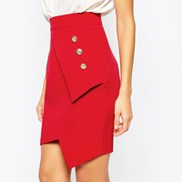 Vesper Pleated Mini Skirt With Gold Button Detail at asos.com