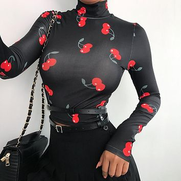 Cherry Meshed Top
