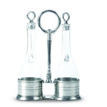 Oil and Vinegar in Pewter Caddy