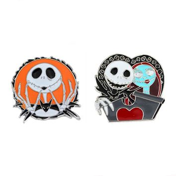 The Nightmare Before Christmas Jack Skellington Brooches Tim Burton's Zombies Bride Pins Women Men Cute Jewelry