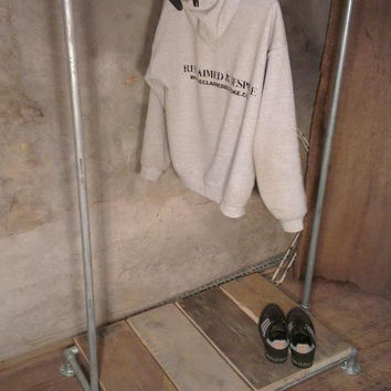 Industrial Style Reclaimed Scaffold Clothes Rack and Shoe Storage