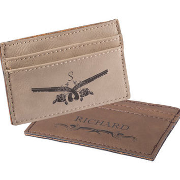 Valentine's day gift -Personalized Custom Engraved Leather Money Clip- Leather wallet -Personalized leather Wallet- Money clip