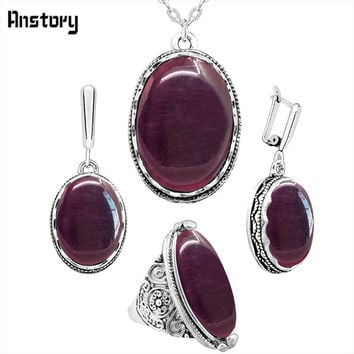 Delicate Dark Red Opal Jewelry Set Necklace Earrings Rings Flower Antique Silver Plated Pendant Stainless Steel Chain Jewelry