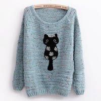 Blue Loose Kitten Sweet Pullover Sweater