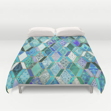 Sapphire & Emerald Diamond Patchwork Pattern Duvet Cover by Micklyn