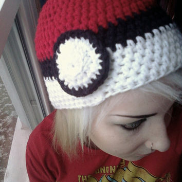 Crochet Pokeball hatMade to order by OwlPudding on Etsy