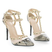 Adora119 by Wild Diva, Gladiator Lucite & Stud Ankle Strap Stiletto Heel Pumps