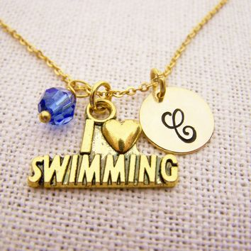 I Love Swimming Necklace - Gold Initial Necklace - Birthstone Necklace - Initial Disc Necklace - Personalized Necklace - Swimming Charm