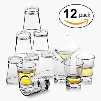 REATR 15 oz Shot Glass Set of 12 Food Safe Grade Tequila Shot Glasses With Cleaning Cloth Drinking Glassware Clear Shot Glasses Thick For Vodka Rum Liqueur Spirit Alcohol Small Shooter Glass Cup