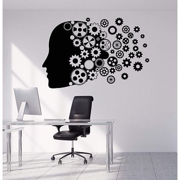 Vinyl Wall Decal Human Gear Head Mind Work Brain Stickers Unique Gift (1819ig)