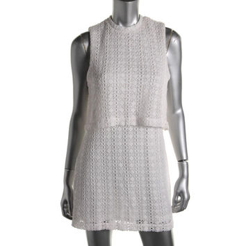 Wyatt Womens Knit Eyelet Cocktail Dress