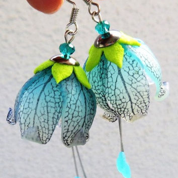 Transparent Organic Bell Earrings - Polymer Clay Tutorilal