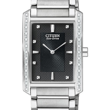 Citizen Eco-Drive Mens Diamond Dress Watch - Black Dial - Stainless Steel