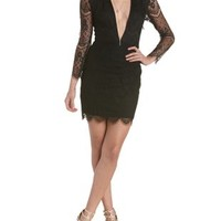 Black Deep V Long Sleeve Lace Dress by Charlotte Russe