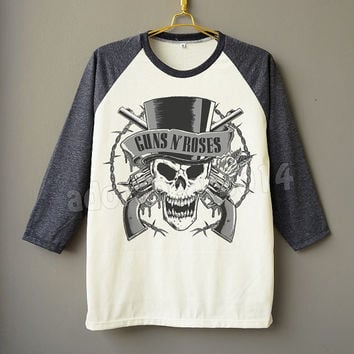 Guns N' Roses Shirt Punk Rock Shirt Raglan Tee Shirt Baseball Shirt Unisex Shirt Women Shirt Men Shirt Jersey Shirt Long Sleeve Shirt