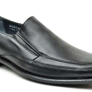 Baronett Men's Slip On Square Toe Genuine All Leather Shoes 501 Black