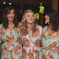 Bridesmaids Robes Kimono Crossover Robe - Set of 5 - Spa Wrap Perfect bridesmaids gift getting ready robes Wedding shower party favors