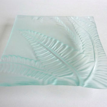 Glass Fern Imprinted Dish in Pale Blue Tint