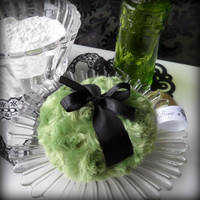 Green Powder Puff - olive green pouf - moss and black powderpuff - gift boxed