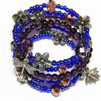 Beaded Memory Wire Bracelet - Bee - Queen Bee - Dragonfly - Purple, Blue, And Silver