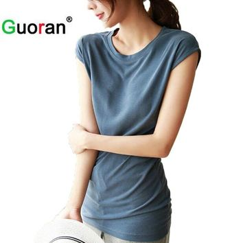 {Guoran} Soft Cotton T shirts for Women Summer 2017 Loose Best Friends Tee Shirts White Black 2xl female Casual tops