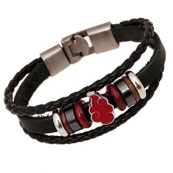 Naruto Sasauke ninja ER Anime  Bracelet Homme Vintage Hand Woven Bracelets Handmade Genuine Leather Braclet Men Friendship Braslet LB148 AT_81_8