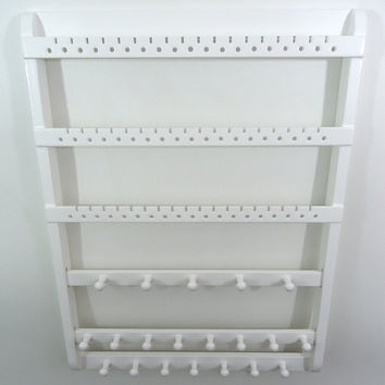 Jewelry Organizer, Earring Holder Earring Organizer, White Necklace Holder