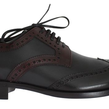 Black Gray Leather Wingtip Oxford Shoes