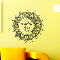 Wall Decal Vinyl Sticker Sun Crescent Ethnic Dual Symbol Moon Home Decor Design Interior Art Mural Bedroom Dorm Z774