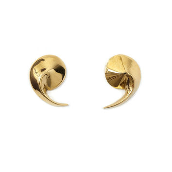 Jennifer Fisher Apostrophe Earrings - Gold Stud Earrings - ShopBAZAAR