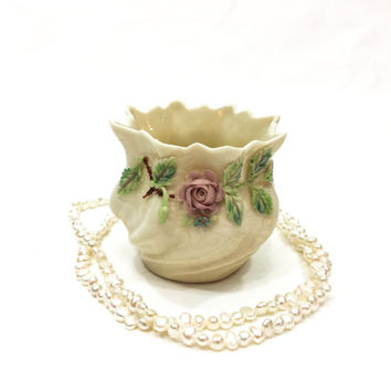 Belleek Miniature Roses Pot, Small China Vase, Dresser or Jewelry Dish, 6th Green Mark, 1965 - 1980, Vintage China