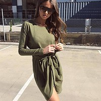 Simple Solid Color Thick Round Neck Long Sleeve Bandage Irregular Mini Dress