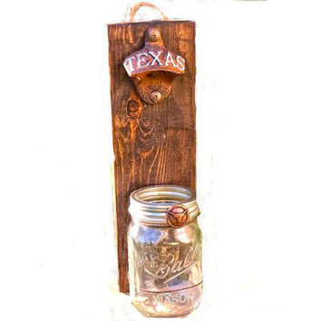 Texas Longhorn Wall Mount Bottle Opener, Texas College Bottle Openers and Cap Catcher, NCAA Wall Bottle Opener, Rustic Texas University Gift