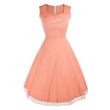 Vintage Hepburn Style Sleeveless Square Dress  pink   S