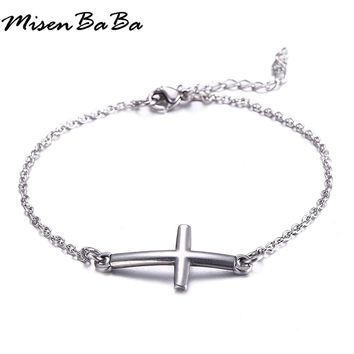 Stainless Steel Jewelry Easter Catholic Jesus Cross Bracelets For Women Men Male Christian Bracelets Bangles Gift